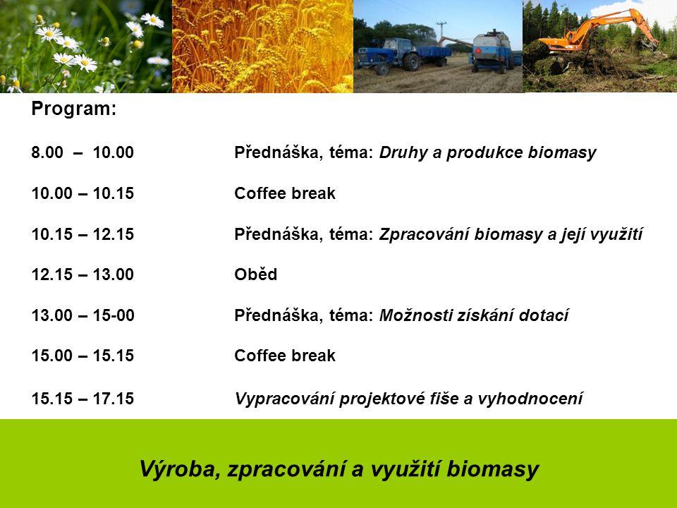 Výroba, zpracování a využití biomasy Program: 8.00 – 10.00Přednáška, téma: Druhy a produkce biomasy 10.00 – 10.15Coffee break 10.15 – 12.15Přednáška, téma: Zpracování biomasy a její využití 12.15 – 13.00Oběd 13.00 – 15-00Přednáška, téma: Možnosti získání dotací 15.00 – 15.15Coffee break 15.15 – 17.15Vypracování projektové fiše a vyhodnocení
