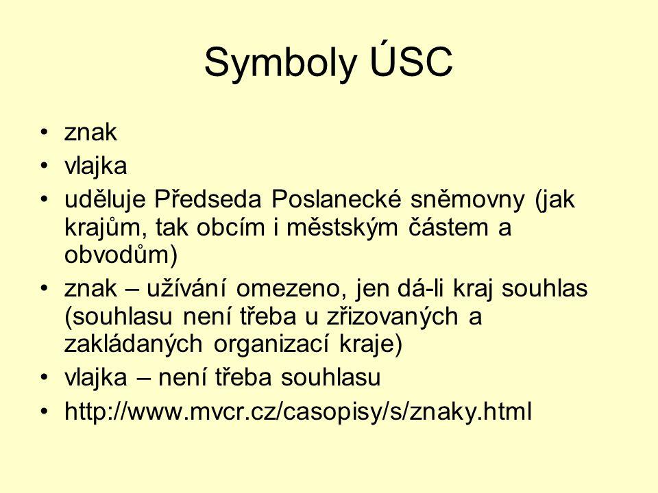 Symboly ÚSC znak vlajka uděluje Předseda Poslanecké sněmovny (jak krajům, tak obcím i městským částem a obvodům) znak – užívání omezeno, jen dá-li kra