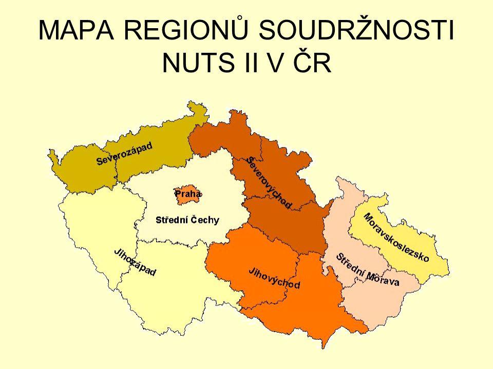 MAPA REGIONŮ SOUDRŽNOSTI NUTS II V ČR