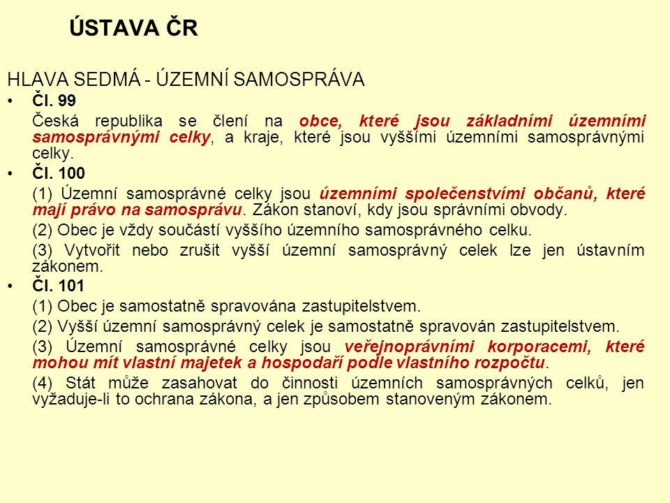 ÚSTAVA ČR HLAVA SEDMÁ - ÚZEMNÍ SAMOSPRÁVA Čl. 99 Česká republika se člení na obce, které jsou základními územními samosprávnými celky, a kraje, které