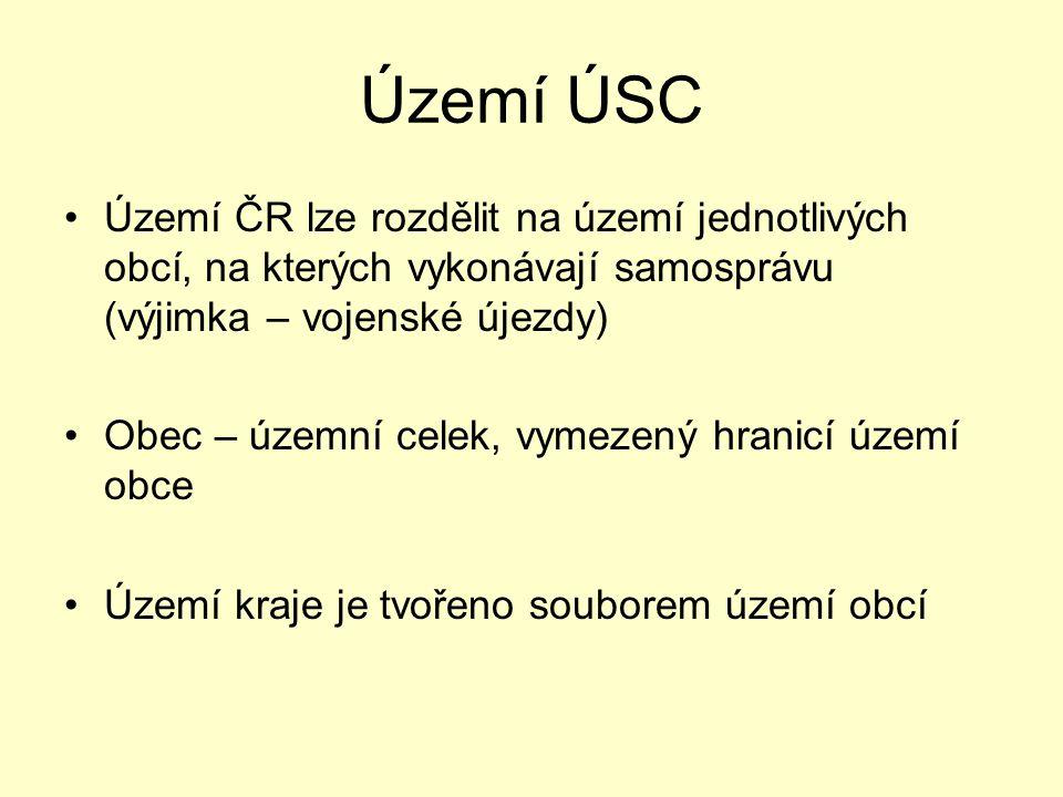 Území ÚSC Území ČR lze rozdělit na území jednotlivých obcí, na kterých vykonávají samosprávu (výjimka – vojenské újezdy) Obec – územní celek, vymezený