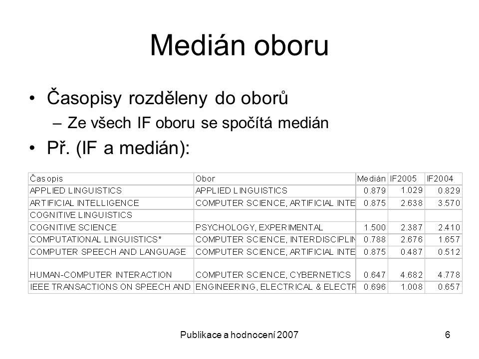 Publikace a hodnocení 20076 Medián oboru Časopisy rozděleny do oborů –Ze všech IF oboru se spočítá medián Př.