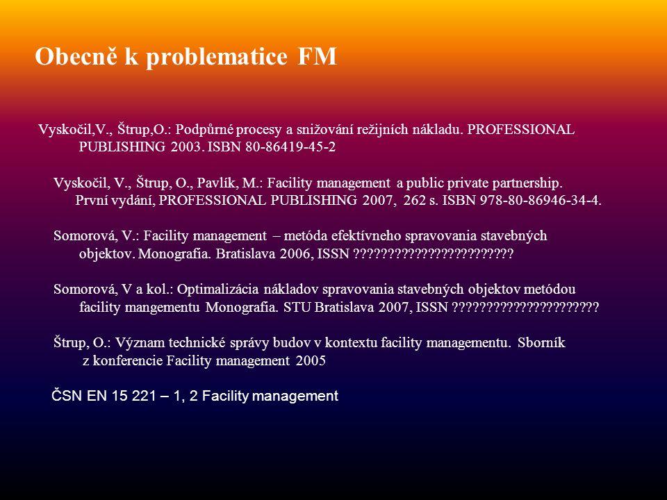 Obecně k problematice FM Vyskočil,V., Štrup,O.: Podpůrné procesy a snižování režijních nákladu. PROFESSIONAL PUBLISHING 2003. ISBN 80-86419-45-2 Vysko