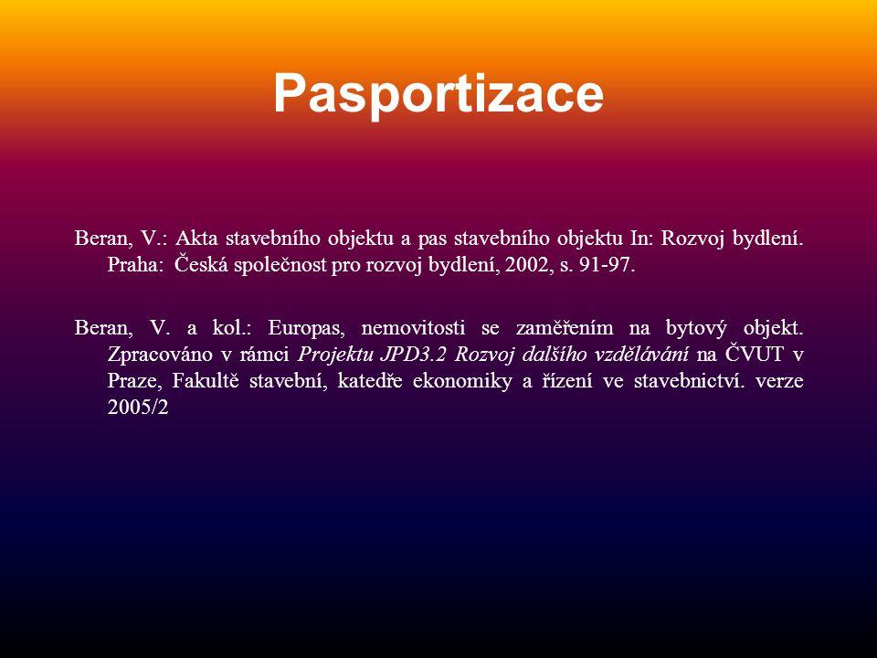 Pasportizace Beran, V.: Akta stavebního objektu a pas stavebního objektu In: Rozvoj bydlení. Praha: Česká společnost pro rozvoj bydlení, 2002, s. 91-9
