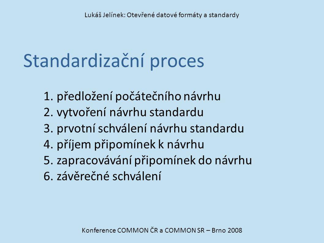Standardizační proces Konference COMMON ČR a COMMON SR – Brno 2008 Lukáš Jelínek: Otevřené datové formáty a standardy 1. předložení počátečního návrhu