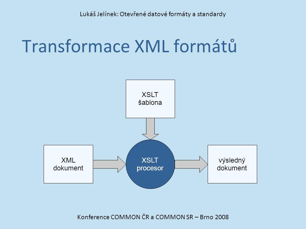 Transformace XML formátů Konference COMMON ČR a COMMON SR – Brno 2008 Lukáš Jelínek: Otevřené datové formáty a standardy XML dokument výsledný dokumen