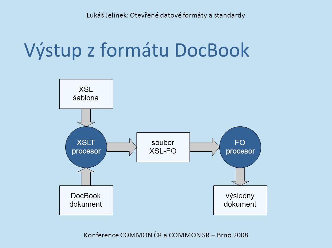 Výstup z formátu DocBook Konference COMMON ČR a COMMON SR – Brno 2008 Lukáš Jelínek: Otevřené datové formáty a standardy DocBook dokument soubor XSL-F