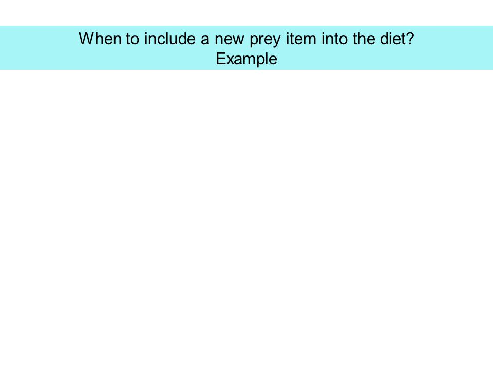 When to include a new prey item into the diet? Example