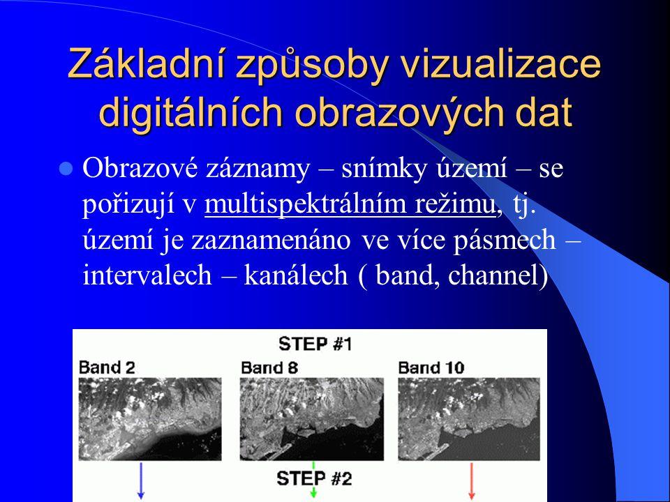 Základní způsoby vizualizace digitálních obrazových dat Obrazové záznamy – snímky území – se pořizují v multispektrálním režimu, tj. území je zaznamen