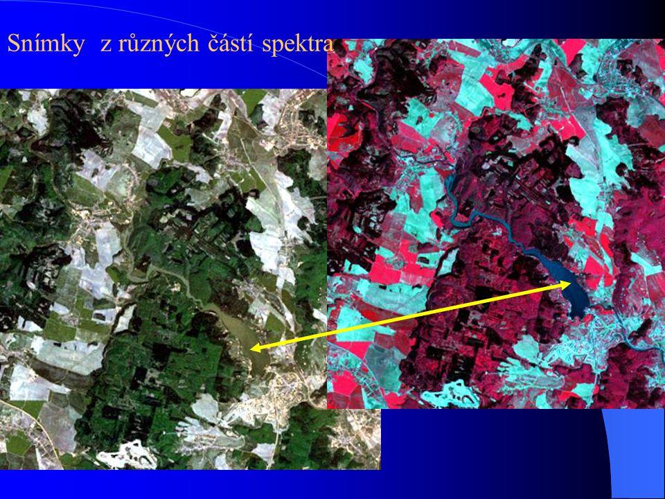 Snímky z různých částí spektra