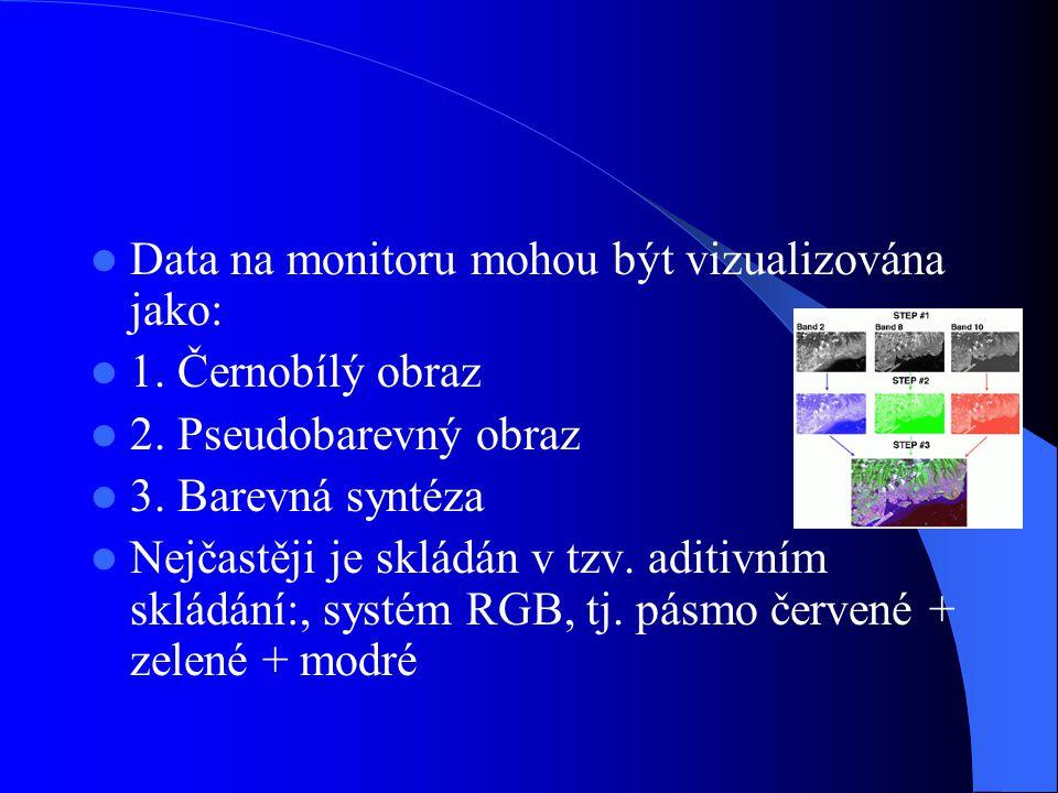 Data na monitoru mohou být vizualizována jako: 1. Černobílý obraz 2. Pseudobarevný obraz 3. Barevná syntéza Nejčastěji je skládán v tzv. aditivním skl