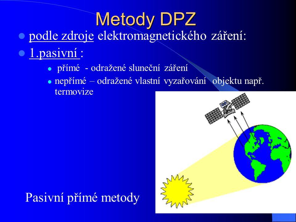 Metody DPZ podle zdroje elektromagnetického záření: 1.pasivní : přímé - odražené sluneční záření nepřímé – odražené vlastní vyzařování objektu např. t