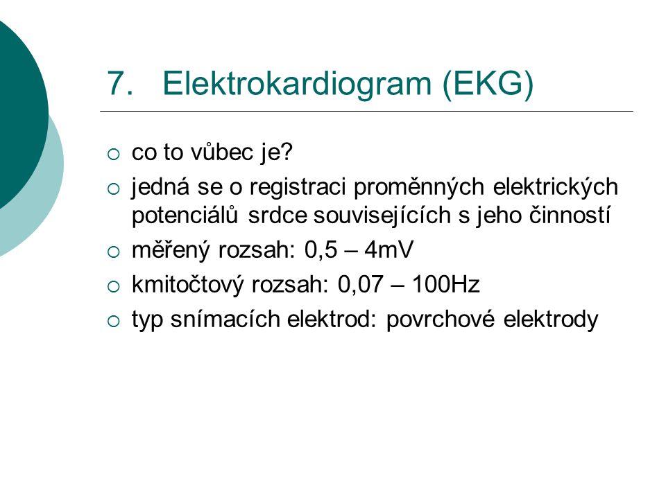 7. Elektrokardiogram (EKG)  co to vůbec je?  jedná se o registraci proměnných elektrických potenciálů srdce souvisejících s jeho činností  měřený r