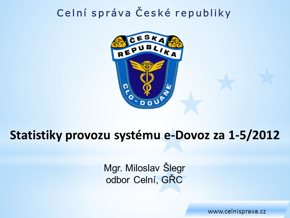 Celní správa České republiky www.celnisprava.cz Mgr.