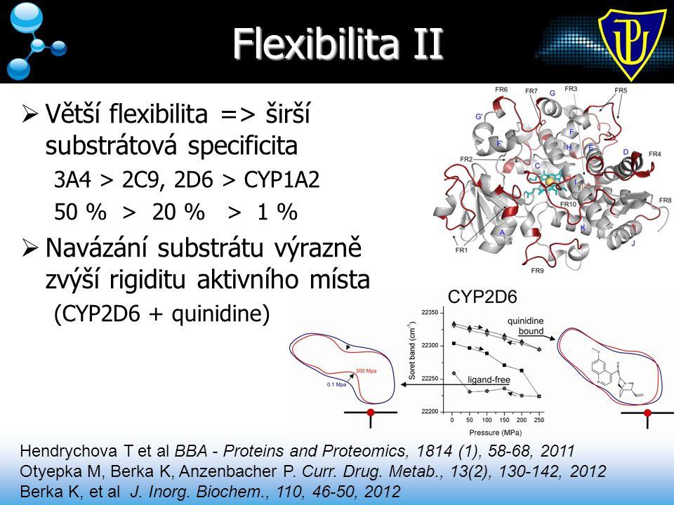 Flexibilita II  Větší flexibilita => širší substrátová specificita 3A4 > 2C9, 2D6 > CYP1A2 50 % > 20 % > 1 %  Navázání substrátu výrazně zvýší rigid
