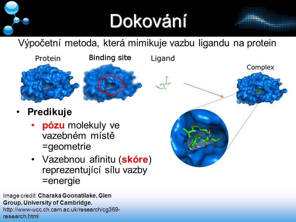 Dokování Predikuje pózu molekuly ve vazebném místě =geometrie Vazebnou afinitu (skóre) reprezentující sílu vazby =energie Výpočetní metoda, která mimi