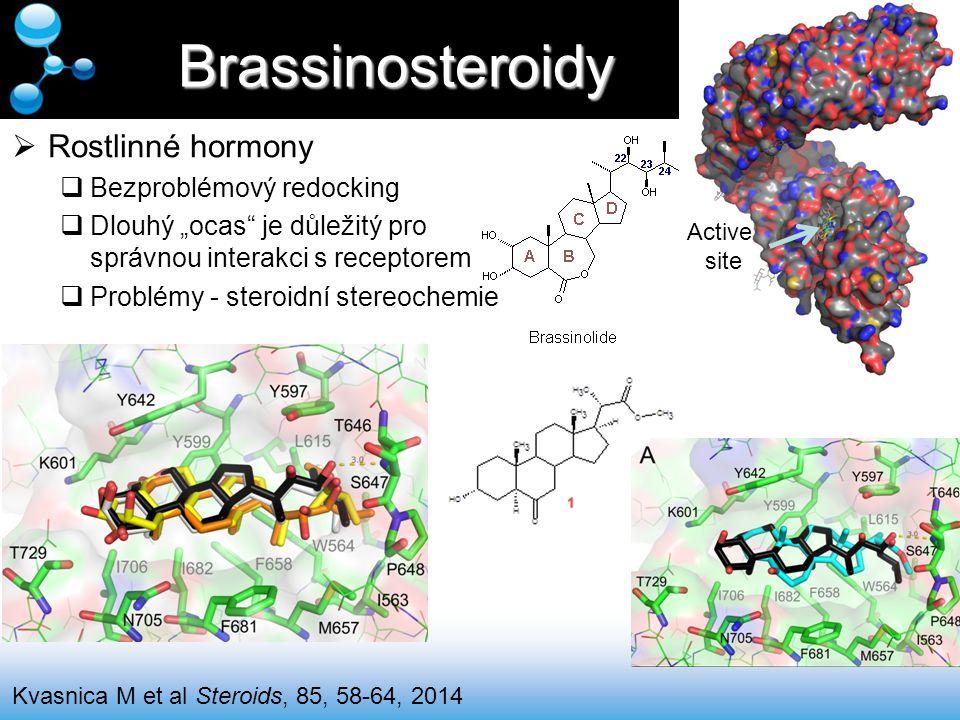 """Brassinosteroidy Kvasnica M et al Steroids, 85, 58-64, 2014  Rostlinné hormony  Bezproblémový redocking  Dlouhý """"ocas"""" je důležitý pro správnou int"""