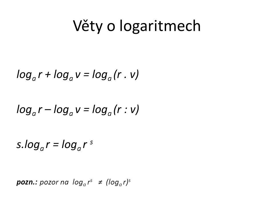 Věty o logaritmech log a r + log a v = log a (r.