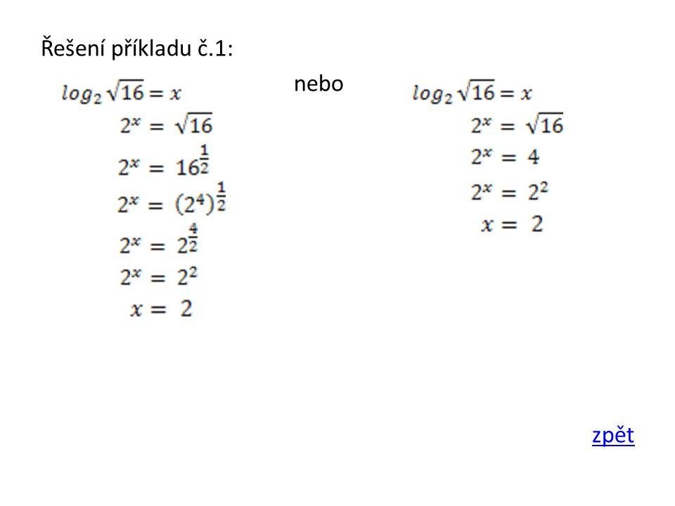 Řešení příkladu č.1: nebo zpět