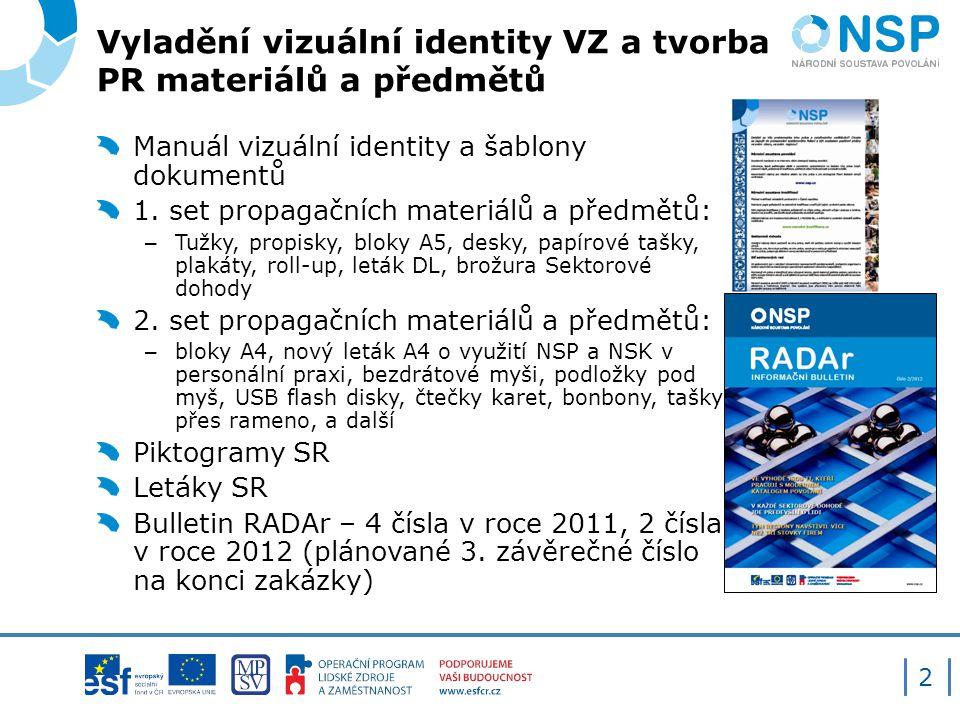 Vyladění vizuální identity VZ a tvorba PR materiálů a předmětů 2 Manuál vizuální identity a šablony dokumentů 1.