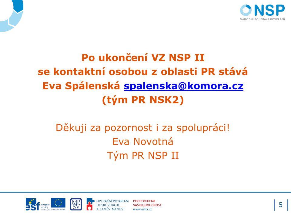 Po ukončení VZ NSP II se kontaktní osobou z oblasti PR stává Eva Spálenská spalenska@komora.czspalenska@komora.cz (tým PR NSK2) Děkuji za pozornost i za spolupráci.