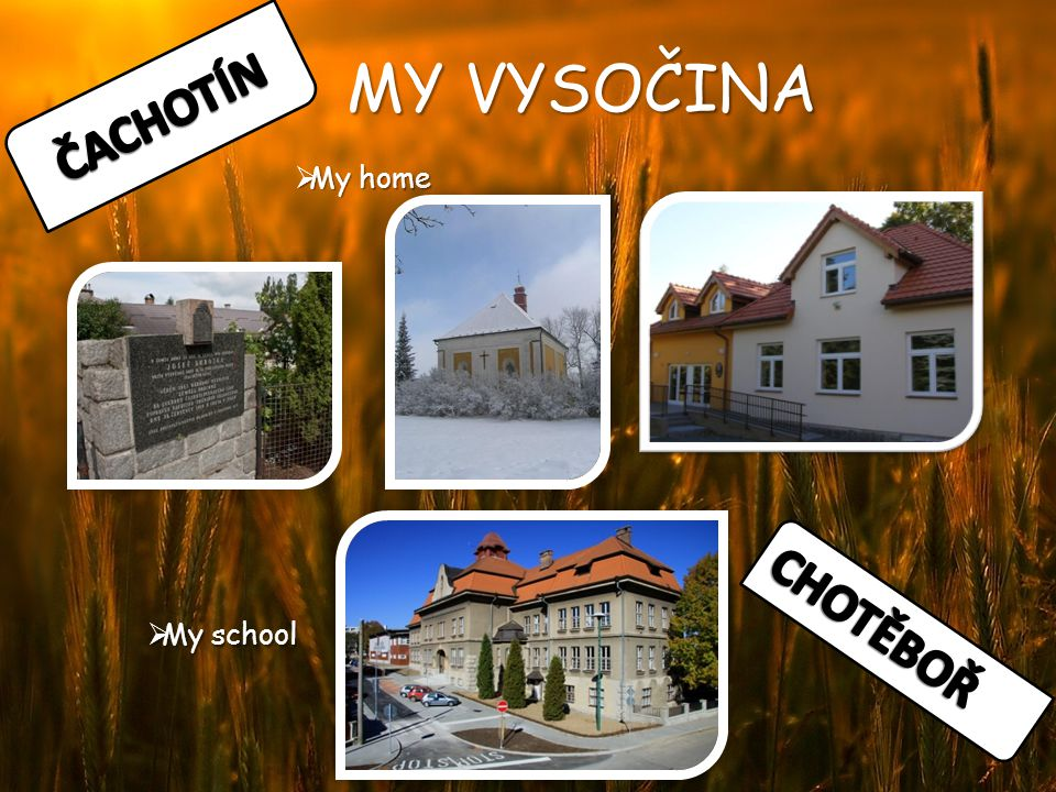 MY VYSOČINA  My home  My school