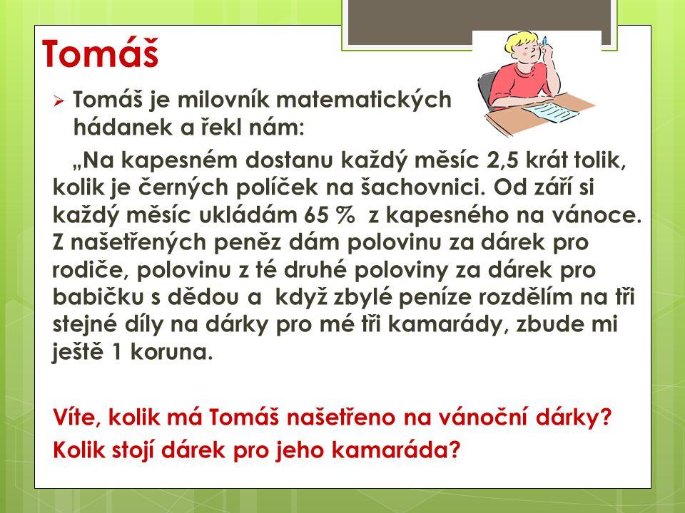 Tomáš Víte, kolik má Tomáš našetřeno na vánoční dárky.