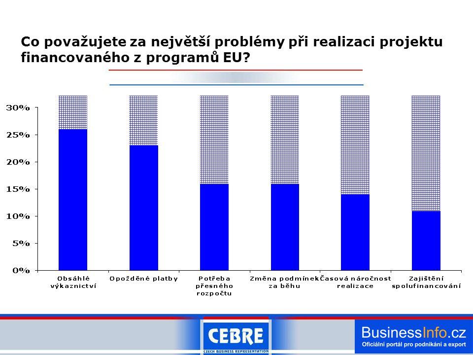 Co považujete za největší problémy při realizaci projektu financovaného z programů EU