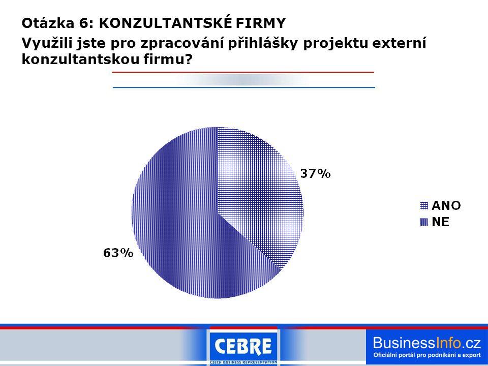 Otázka 6: KONZULTANTSKÉ FIRMY Využili jste pro zpracování přihlášky projektu externí konzultantskou firmu