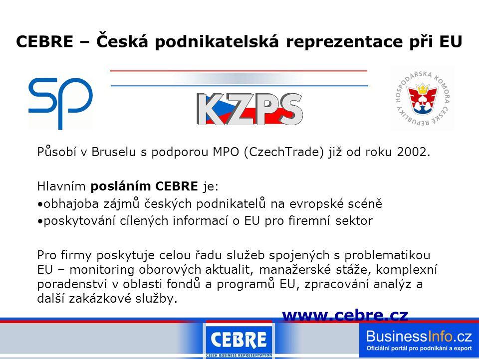 Působí v Bruselu s podporou MPO (CzechTrade) již od roku 2002.
