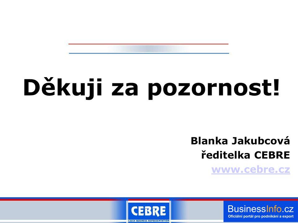 Děkuji za pozornost! Blanka Jakubcová ředitelka CEBRE www.cebre.cz