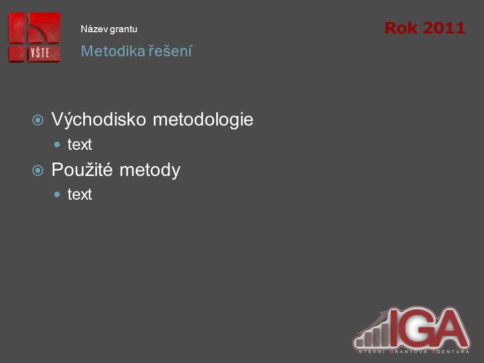 Metodika řešení Název grantu  Východisko metodologie text  Použité metody text