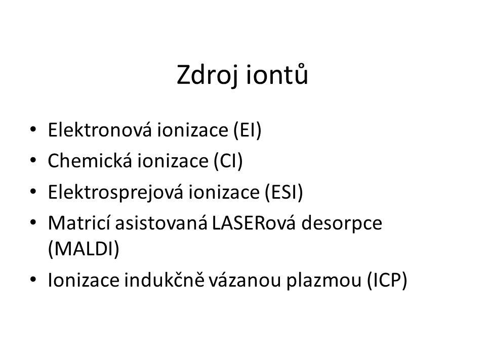 Zdroj iontů Elektronová ionizace (EI) Chemická ionizace (CI) Elektrosprejová ionizace (ESI) Matricí asistovaná LASERová desorpce (MALDI) Ionizace indu