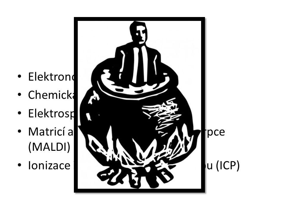 Zdroj iontů Elektronová ionizace (EI) Chemická ionizace (CI) Elektrosprejová ionizace (ESI) Matricí asistovaná LASERová desorpce (MALDI) Ionizace indukčně vázanou plazmou (ICP)