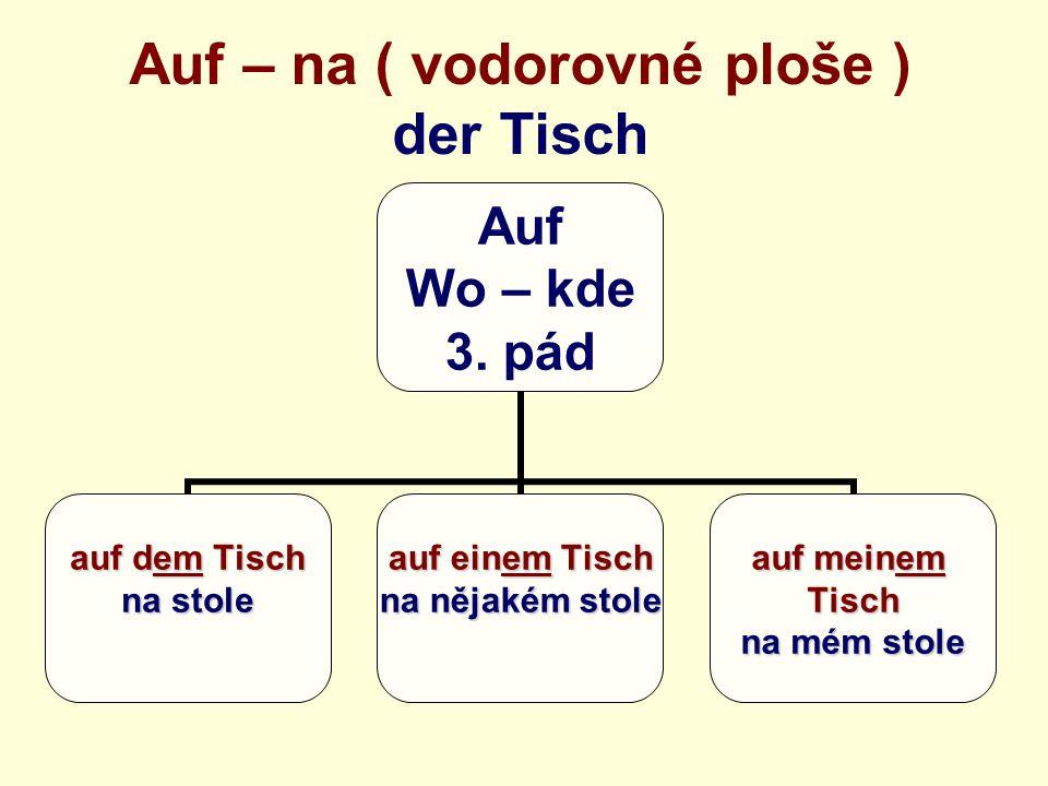 Auf – na ( vodorovné ploše ) der Tisch Auf Wo – kde 3.