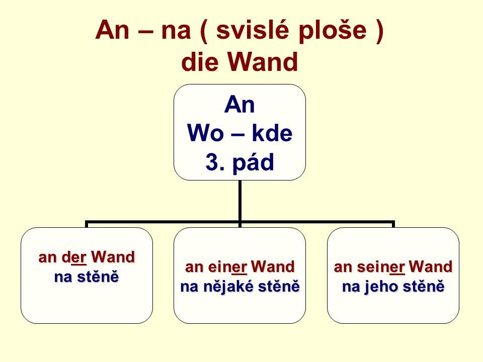An – na ( svislé ploše ) die Wand An Wo – kde 3.