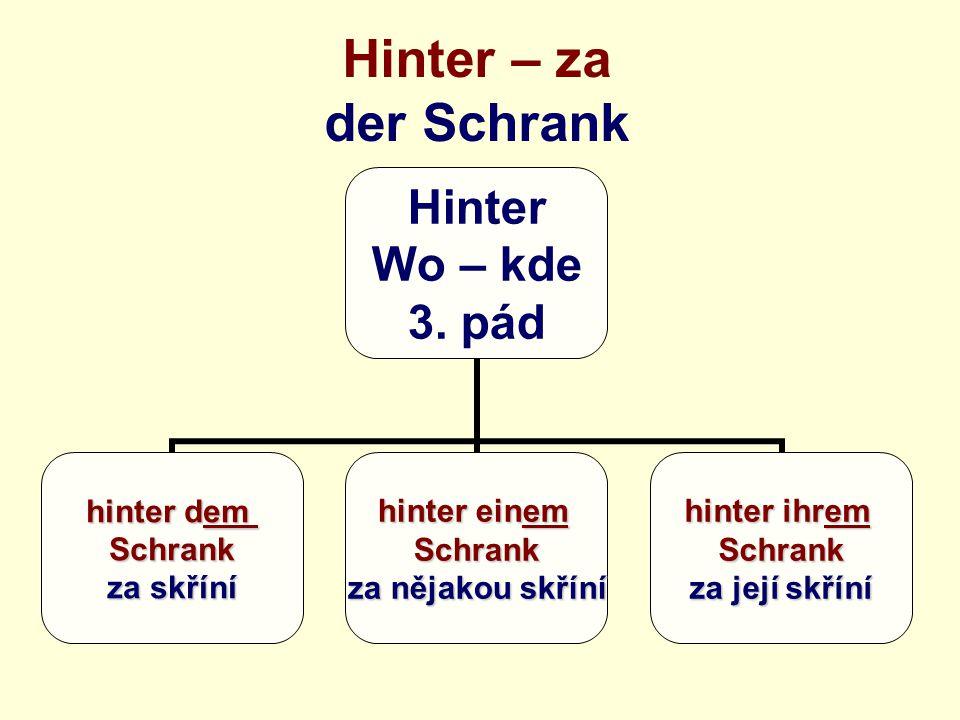 Hinter – za der Schrank Hinter Wo – kde 3.