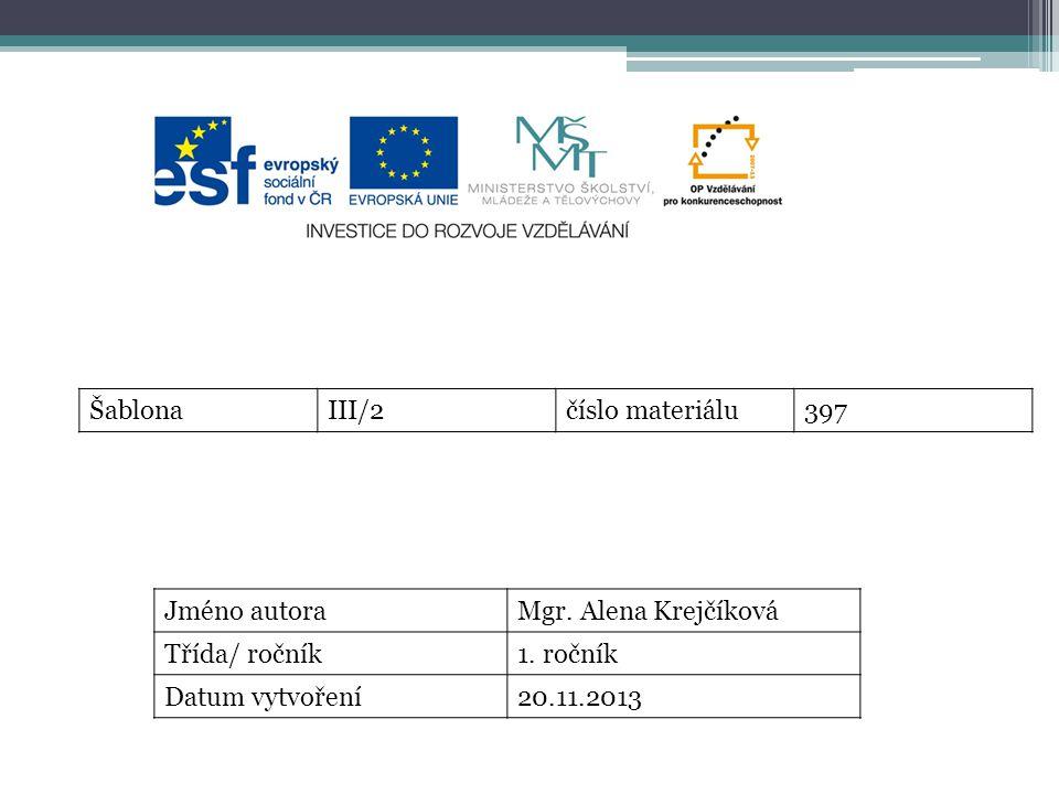 ŠablonaIII/2číslo materiálu397 Jméno autoraMgr. Alena Krejčíková Třída/ ročník1.