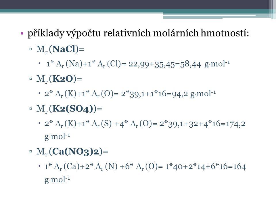 příklady výpočtu relativních molárních hmotností: ▫M r (NaCl)=  1* A r (Na)+1* A r (Cl)= 22,99+35,45=58,44 g  mol -1 ▫M r (K2O)=  2* A r (K)+1* A r (O)= 2*39,1+1*16=94,2 g  mol -1 ▫M r (K2(SO4))=  2* A r (K)+1* A r (S) +4* A r (O)= 2*39,1+32+4*16=174,2 g  mol -1 ▫M r (Ca(NO3)2)=  1* A r (Ca)+2* A r (N) +6* A r (O)= 1*40+2*14+6*16=164 g  mol -1
