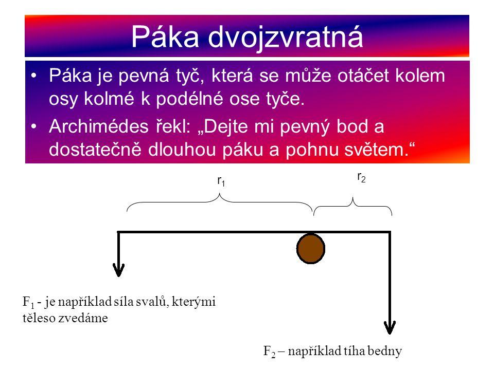 """Páka dvojzvratná Páka je pevná tyč, která se může otáčet kolem osy kolmé k podélné ose tyče. Archimédes řekl: """"Dejte mi pevný bod a dostatečně dlouhou"""