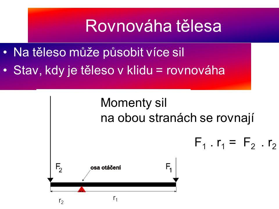 Rovnováha tělesa Na těleso může působit více sil Stav, kdy je těleso v klidu = rovnováha Momenty sil na obou stranách se rovnají F 1. r 1 = F 2. r 2 r