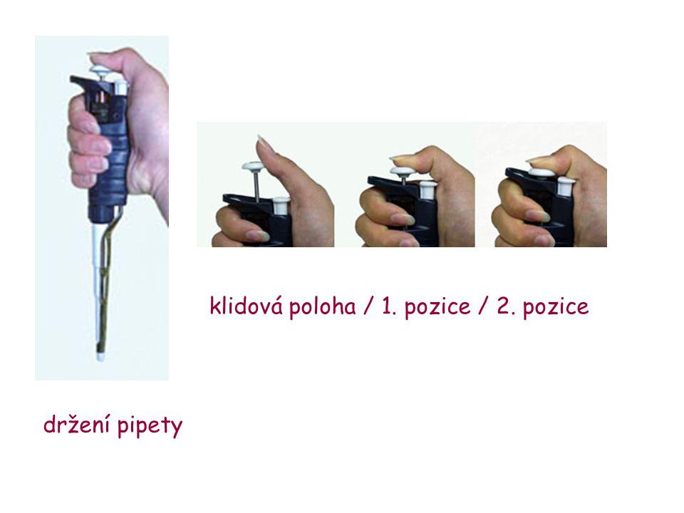 klidová poloha / 1. pozice / 2. pozice držení pipety