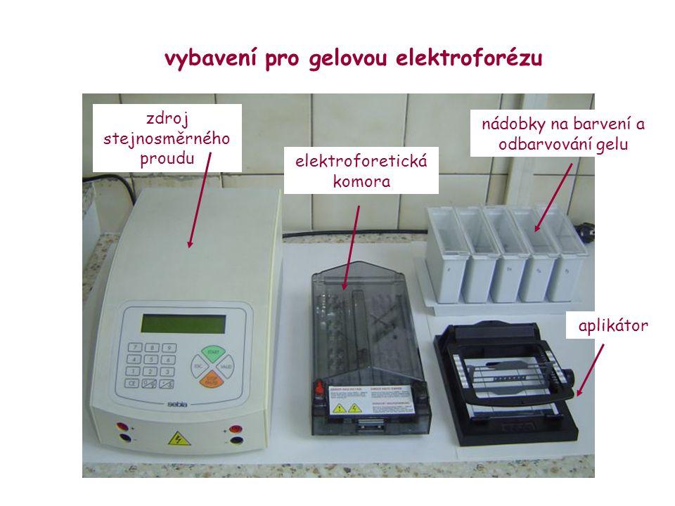 vybavení pro gelovou elektroforézu zdroj stejnosměrného proudu elektroforetická komora aplikátor nádobky na barvení a odbarvování gelu
