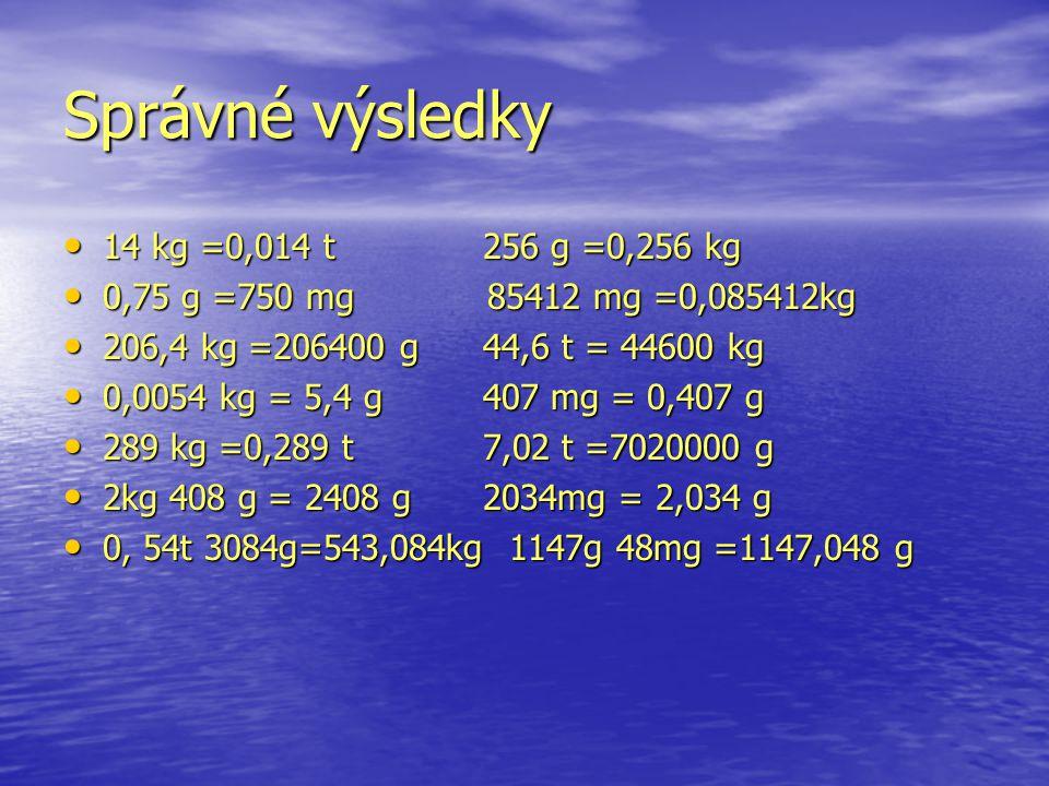 Správné výsledky 14 kg =0,014 t256 g =0,256 kg 14 kg =0,014 t256 g =0,256 kg 0,75 g =750 mg 85412 mg =0,085412kg 0,75 g =750 mg 85412 mg =0,085412kg 206,4 kg =206400 g44,6 t = 44600 kg 206,4 kg =206400 g44,6 t = 44600 kg 0,0054 kg = 5,4 g407 mg = 0,407 g 0,0054 kg = 5,4 g407 mg = 0,407 g 289 kg =0,289 t7,02 t =7020000 g 289 kg =0,289 t7,02 t =7020000 g 2kg 408 g = 2408 g2034mg = 2,034 g 2kg 408 g = 2408 g2034mg = 2,034 g 0, 54t 3084g=543,084kg 1147g 48mg =1147,048 g 0, 54t 3084g=543,084kg 1147g 48mg =1147,048 g