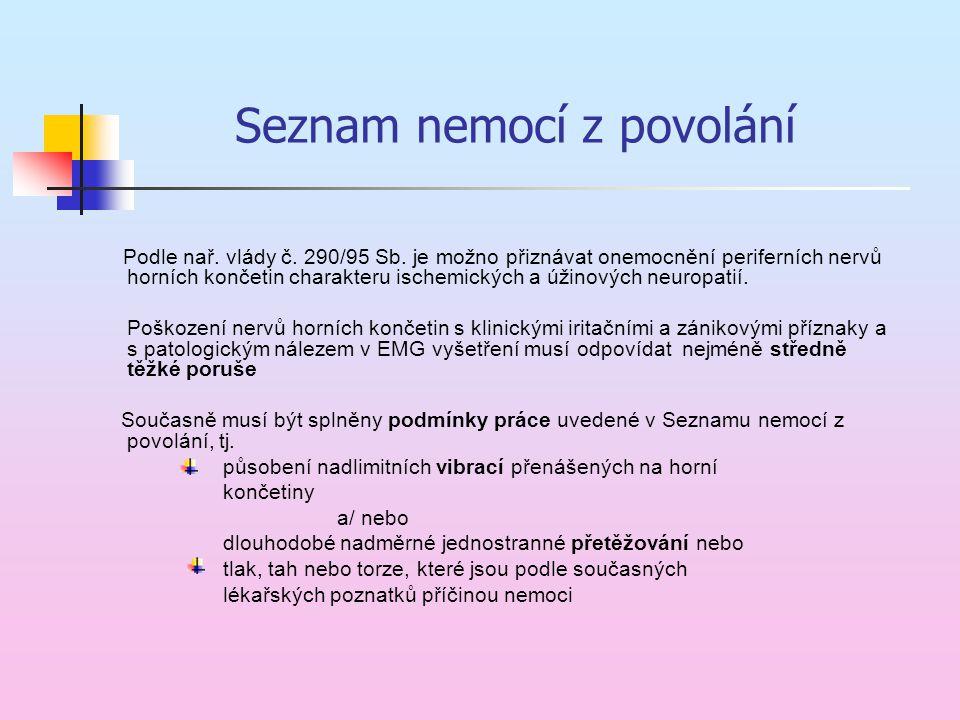 Seznam nemocí z povolání Podle nař. vlády č. 290/95 Sb. je možno přiznávat onemocnění periferních nervů horních končetin charakteru ischemických a úži