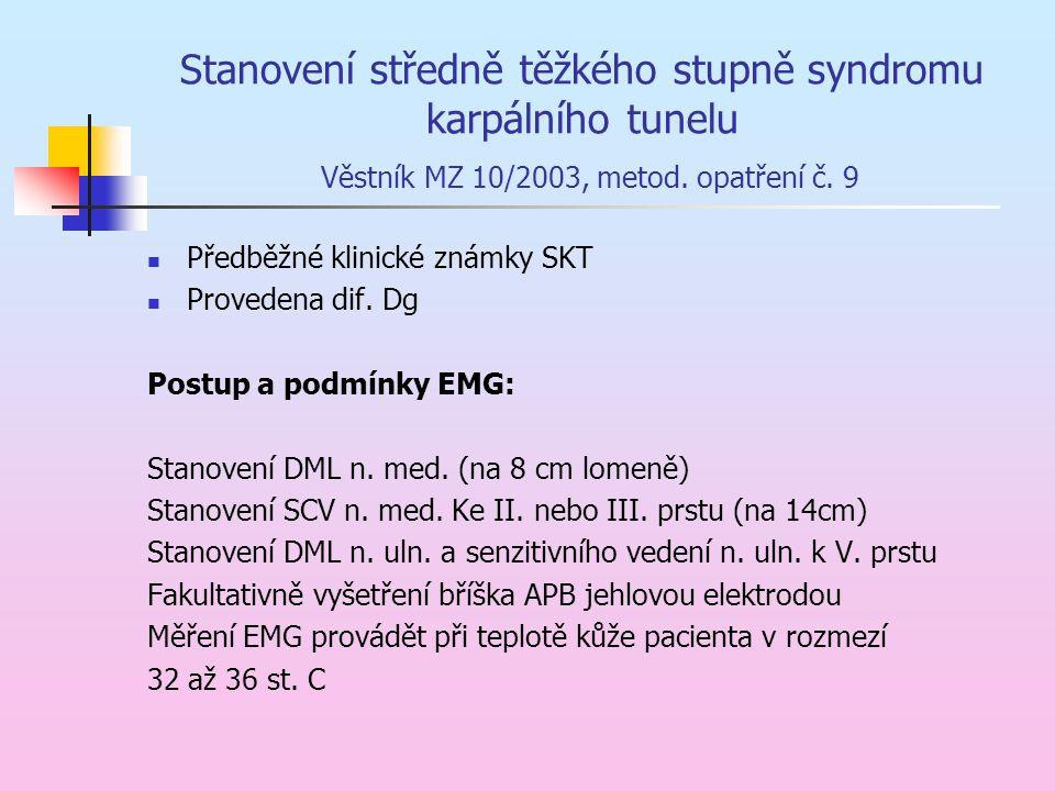 Stanovení středně těžkého stupně syndromu karpálního tunelu Věstník MZ 10/2003, metod. opatření č. 9 Předběžné klinické známky SKT Provedena dif. Dg P