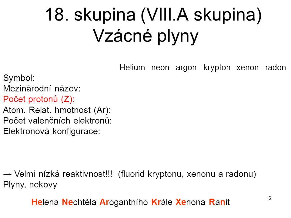 18. skupina (VIII.A skupina) Vzácné plyny Helium neon argon krypton xenon radon Symbol: Mezinárodní název: Počet protonů (Z): Atom. Relat. hmotnost (A