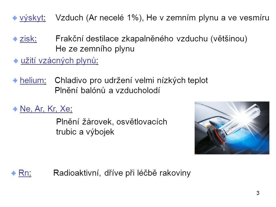 výskyt: 3 Frakční destilace zkapalněného vzduchu (většinou) He ze zemního plynu zisk: helium:Chladivo pro udržení velmi nízkých teplot Plnění balónů a