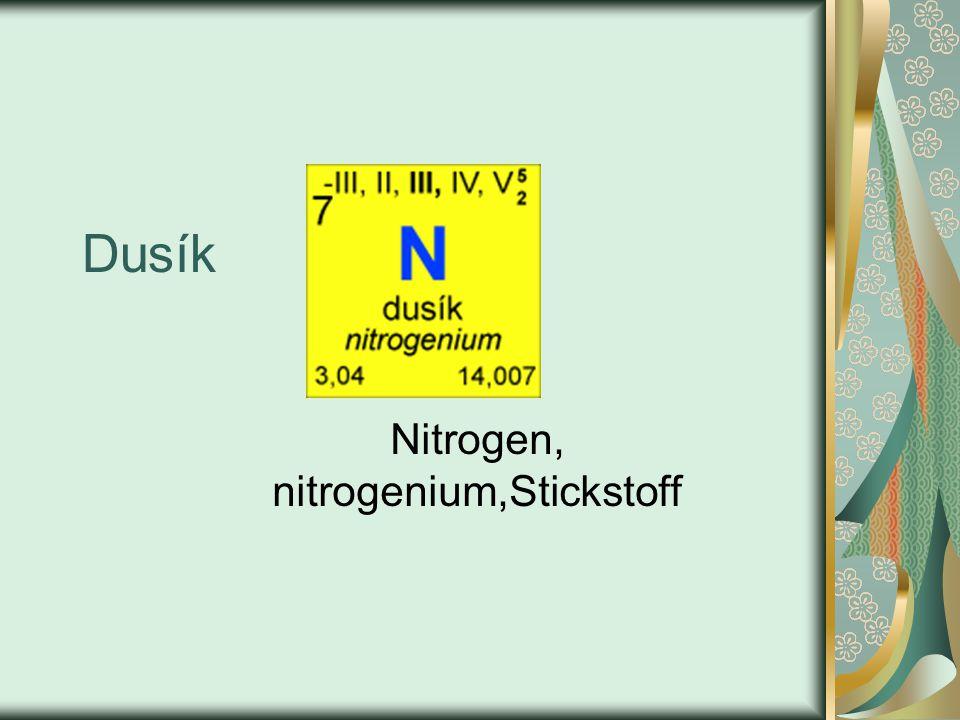 Dusík Nitrogen, nitrogenium,Stickstoff