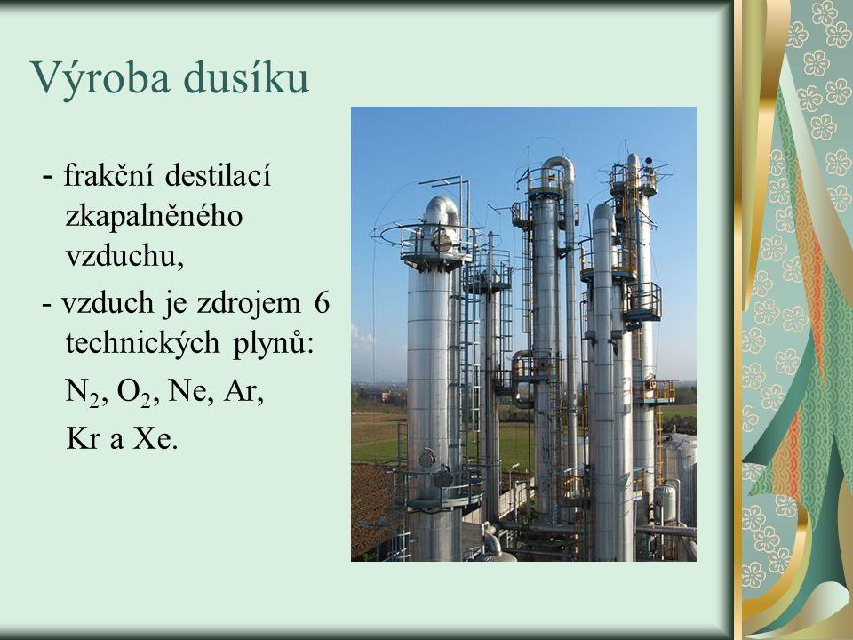 Výroba dusíku - frakční destilací zkapalněného vzduchu, - vzduch je zdrojem 6 technických plynů: N 2, O 2, Ne, Ar, Kr a Xe.